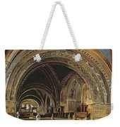 The Interior Of The Lower Basilica Of St. Francis Of Assisi Weekender Tote Bag by Thomas Hartley Cromek