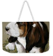 The Little Basset Weekender Tote Bag by Mary Sparrow