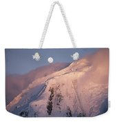 The Moon Rises Over Snow-blown Peaks Weekender Tote Bag