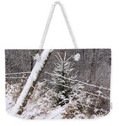 The Old Fence - Snowy Evergreen Weekender Tote Bag