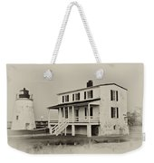 The Piney Point Lighthouse In Sepia Weekender Tote Bag