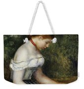The Reader A Seated Young Girl  Weekender Tote Bag by Pierre Auguste Renoir