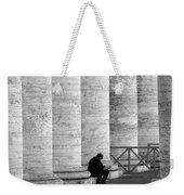 The Reader Amidst The Columns Bw Weekender Tote Bag