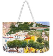 The Ruined Tower Above The Beach At Amalfi On The Southern Italian Coast Weekender Tote Bag