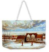 The Schoolhouse Winter Morning Quebec Rural Landscape Weekender Tote Bag