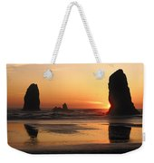 The Sun Sets Over The Sea Stacks Weekender Tote Bag