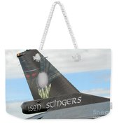 The Tail Of A Belgian F16 Aircraft Weekender Tote Bag by Luc De Jaeger