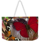 Three Butterflies On Protea Weekender Tote Bag
