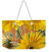 Three Daisy's And Butterfly Weekender Tote Bag