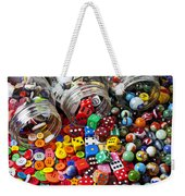 Three Jars Of Buttons Dice And Marbles Weekender Tote Bag