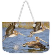 Three Pelicans Taking Off Weekender Tote Bag