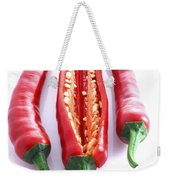 Three Red Chilli's With One Cut Open Weekender Tote Bag