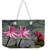 Three Sweet Pink Water Lilies Weekender Tote Bag