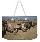 Three White Rhinos Line Up In Solio Weekender Tote Bag