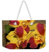 Three Yellow And Red Orchids Weekender Tote Bag
