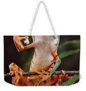 Tiger Striped Leaf Frog Waving Weekender Tote Bag