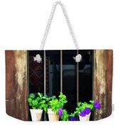 Time Worn Window With Bright Flowers Weekender Tote Bag