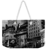 Times Square Black And White Weekender Tote Bag