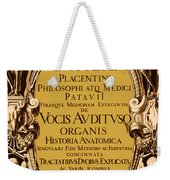 Title Page, Giulio Casserios Anatomy Weekender Tote Bag
