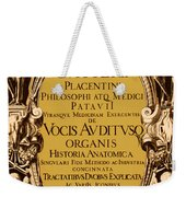Title Page, Giulio Casserios Anatomy Weekender Tote Bag by Science Source
