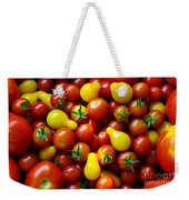 Tomatoes Background Weekender Tote Bag by Carlos Caetano