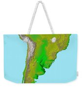 Topographic View Of South America Weekender Tote Bag