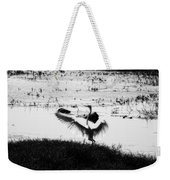 Touchdown-black And White Weekender Tote Bag