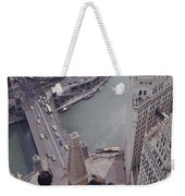Tourists Looking Down On The Chicago Weekender Tote Bag