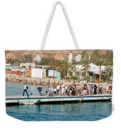 Tourists Waiting To Climb Onto Dive And Snorkeling Boats At Sharm El Sheikh Weekender Tote Bag