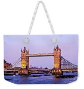 Tower Bridge In London At Dusk Weekender Tote Bag