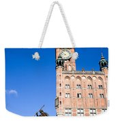 Town Hall And Neptune Fountain In Gdansk Weekender Tote Bag