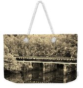 Track On The River In Sepia Weekender Tote Bag