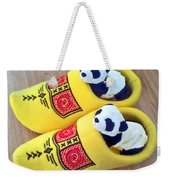 Travelling Pandas Series. Dutch Weekend. Cozy Dutch Clogs. Square Format Weekender Tote Bag
