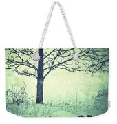 Tree And Fence In The Fog And Snow Weekender Tote Bag