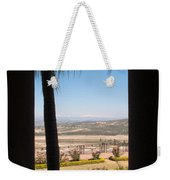 Tree Blocking View Of Garden And Valley And Ice-capped Mountains Weekender Tote Bag