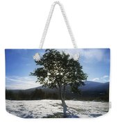 Tree On A Snow Covered Landscape Weekender Tote Bag