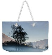 Tree With Fog On Field And Weekender Tote Bag