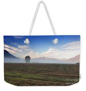 Tree With Fog On The Field Weekender Tote Bag