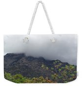 Trees And Leaves At The Base Of A Mountain With Clouds And Mist Covering The Top Weekender Tote Bag