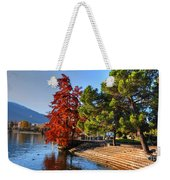 Trees On The Lake Front In Autumn Weekender Tote Bag