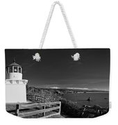 Trinidad Memorial Lighthouse In Black And White Weekender Tote Bag