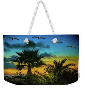 Tropical Sunset With Pelicans Weekender Tote Bag