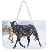 Trotting In The Snow Weekender Tote Bag