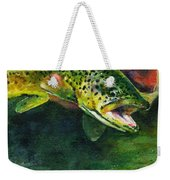 Trout In Hand Weekender Tote Bag