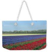 Tulip And Hyacinth Fields In Holland. Panorama Weekender Tote Bag