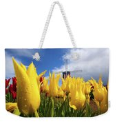 Tulips In A Field And A Windmill At Weekender Tote Bag