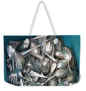 Turquoise Box Of Silverware Weekender Tote Bag