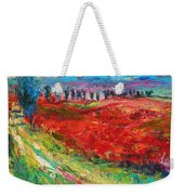 Tuscany Italy Landscape Poppy Field Weekender Tote Bag