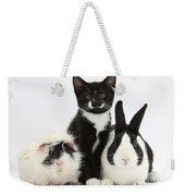 Tuxedo Kitten With Black Dutch Rabbit Weekender Tote Bag