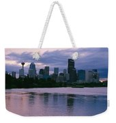 Twilight On The Bow River And Calgary Weekender Tote Bag